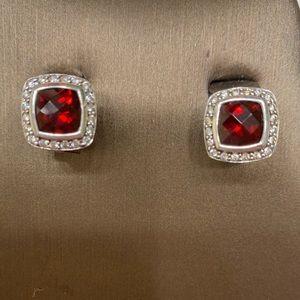David Yurman Garnet, Diamond Earrings